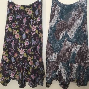 CAbi Reversible 2 in 1 Floral Paisley Snake Skirt